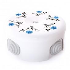 Керамическая распределительная коробка D90 мм с орнаментом №2 (васильки)