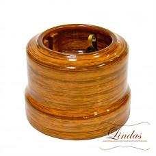 Ретро розетка керамическая с заземлением, 16А 250В, декор Орех