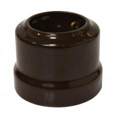 Ретро розетка с заземляющим контактом, коричневая 16А 250В
