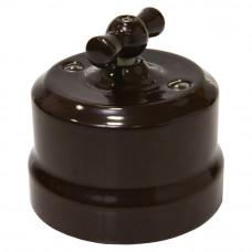 Ретро выключатель 1-кл поворотный проходной коричневый, 10А, 250В