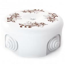Керамическая распределительная коробка D90 мм, орнамент №1 (коричневый)