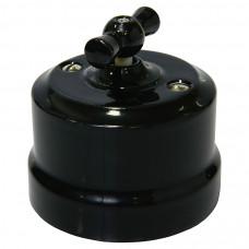 Ретро выключатель 1-кл поворотный проходной черный, 10А, 250В